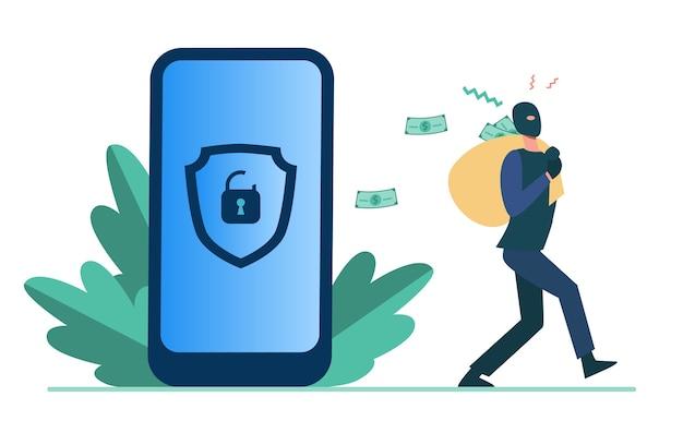個人データをハッキングしてお金を盗む犯罪者。ロック解除電話フラットイラストから現金でバッグを運ぶハッカー。 無料ベクター