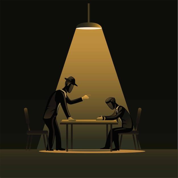 スポットライトのある暗い部屋での犯罪者の紹介。疑わしい概念を持つ探偵警察 Premiumベクター