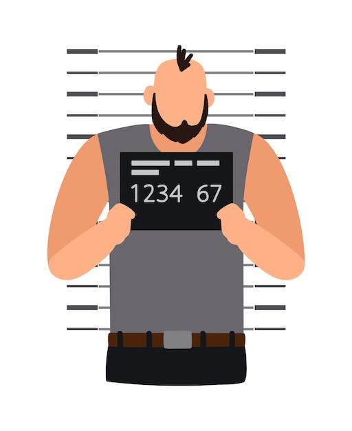 Criminal man photo Premium Vector