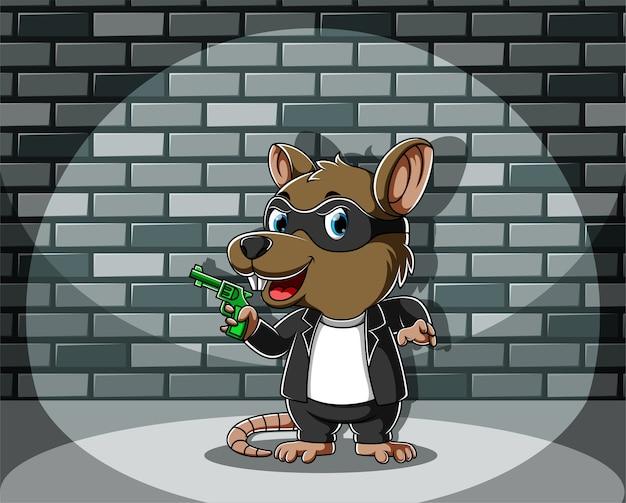 Criminal mouse standing and holding the green gun Premium Vector