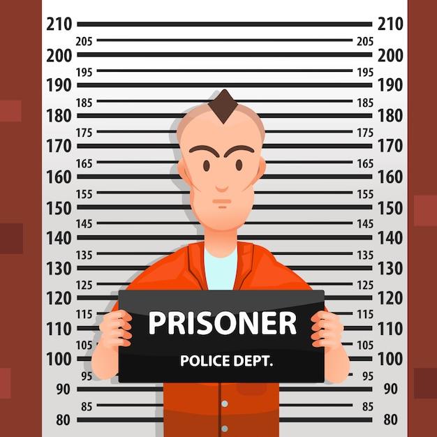 高さチャートを後ろに置いた犯罪者のマグショット Premiumベクター