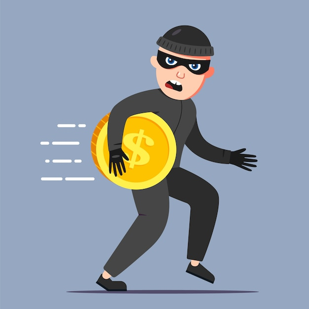 The criminal stole a gold coin. run away from the crime scene. flat character vector illustration. Premium Vector