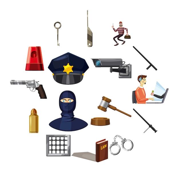 Criminal symbols icons set, cartoon style Premium Vector