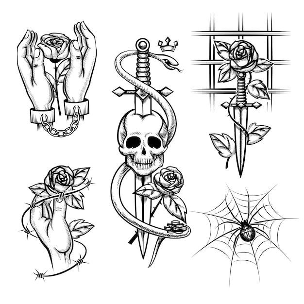 Criminal tattoo. rose in the hands of a knife behind bars, spider and skull. handcuffed and cage, wire and metal chain. vector illustration Free Vector