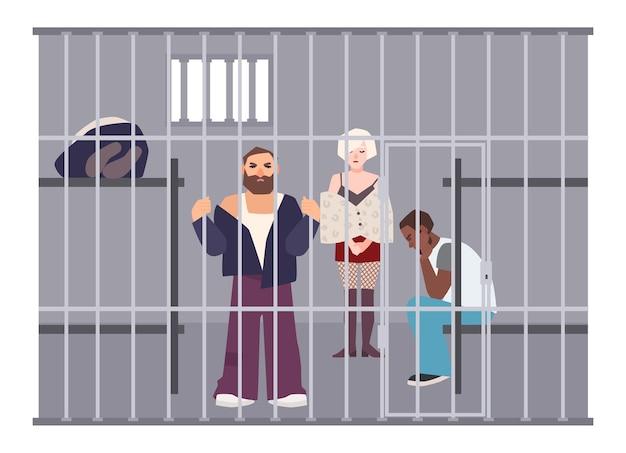 警察署または刑務所の独房にいる犯罪者。囚人たちは金属製の格子のある部屋に閉じ込められました。拘置所で犯罪者または逮捕された人々。フラットの漫画のキャラクター。カラフルなベクトルのイラスト。 Premiumベクター