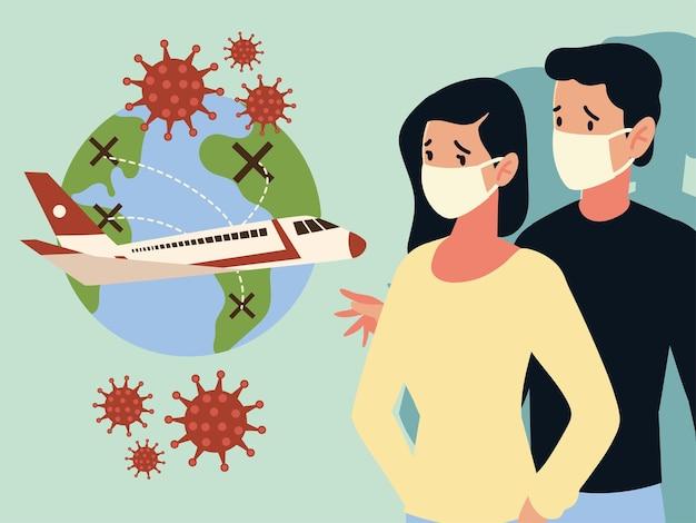 Кризис авиакомпаний и туристического бизнеса из-за вспышки заболевания коронавирусом covid 19 Premium векторы