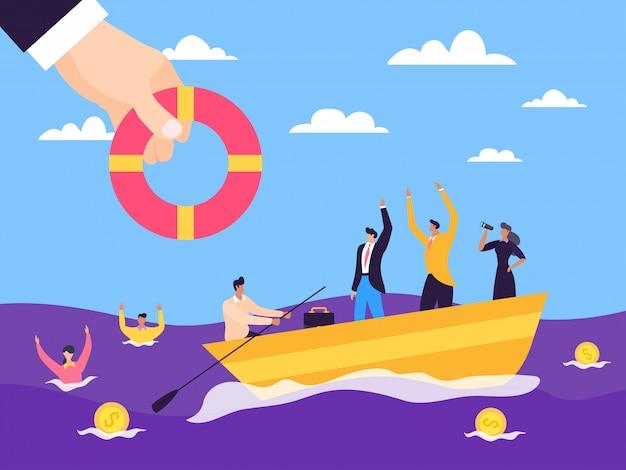 Crisis help business support  illustration. financial sponsorship entrepreneurs in sea water, bankruptcy insurance. Premium Vector