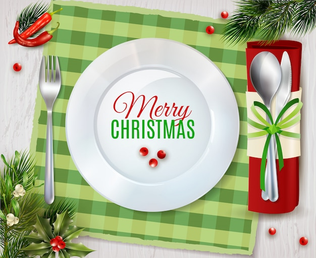 Cristmas dinner cutlery realistic composition poster Free Vector