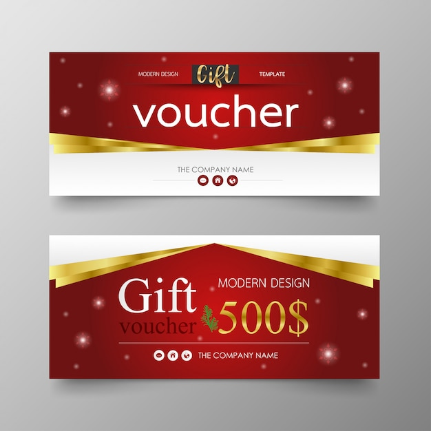 Cristmas gift voucher premium modern and luxury template. Premium Vector