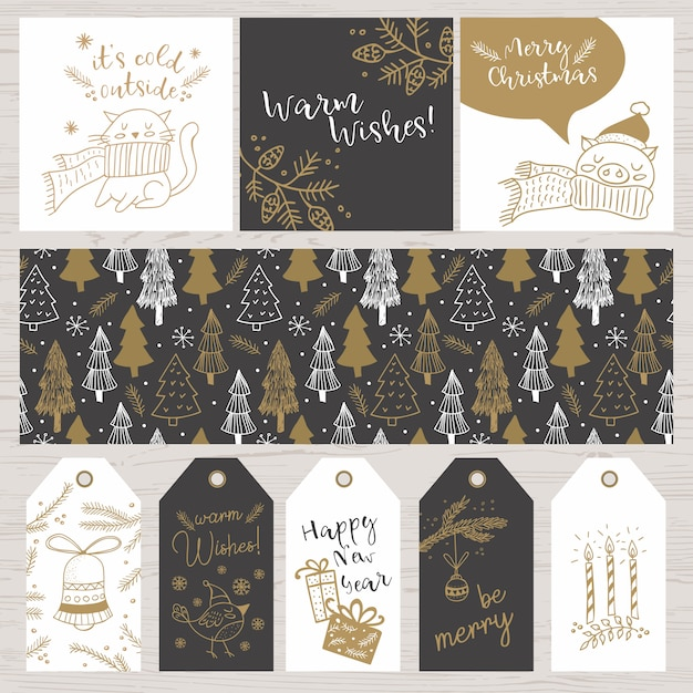 Cristmas hand drawn doodles cards, tags, pattern Premium Vector