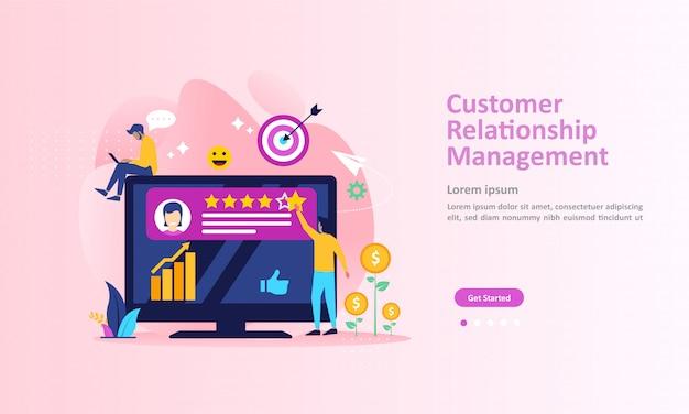 Crm, analysis customer service landing page Premium Vector