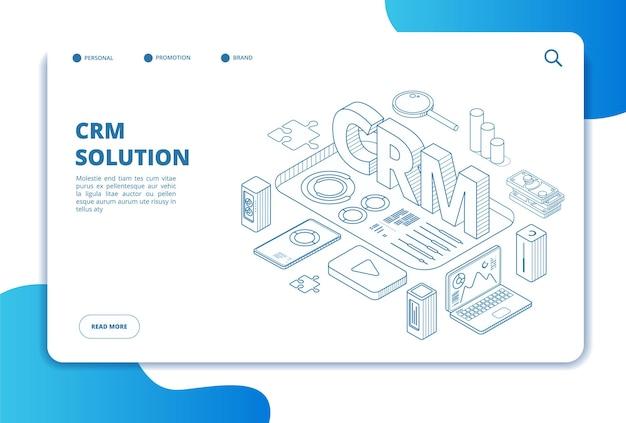 Crmの概念。オンライン顧客関係管理。マーケティングシステムソリューション。ビジネスクライアントのサポート。等尺性のランディングページ。 crm管理、顧客との関係、分析図 Premiumベクター