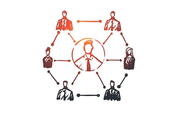 Crm、顧客、ビジネス、分析、マーケティングの概念。ビジネスコンセプトスケッチの手描きシステム。 Premiumベクター