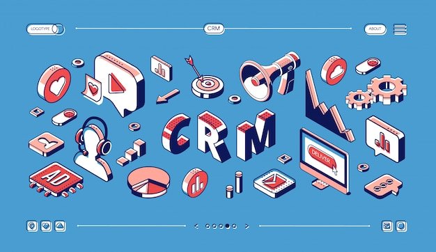 Crm, customer relationship management isometric web banner Free Vector