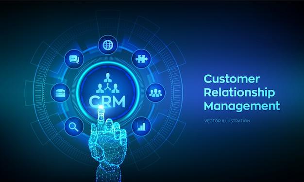 Crm。顧客関係管理。デジタルインターフェイスに触れるロボットの手。 Premiumベクター