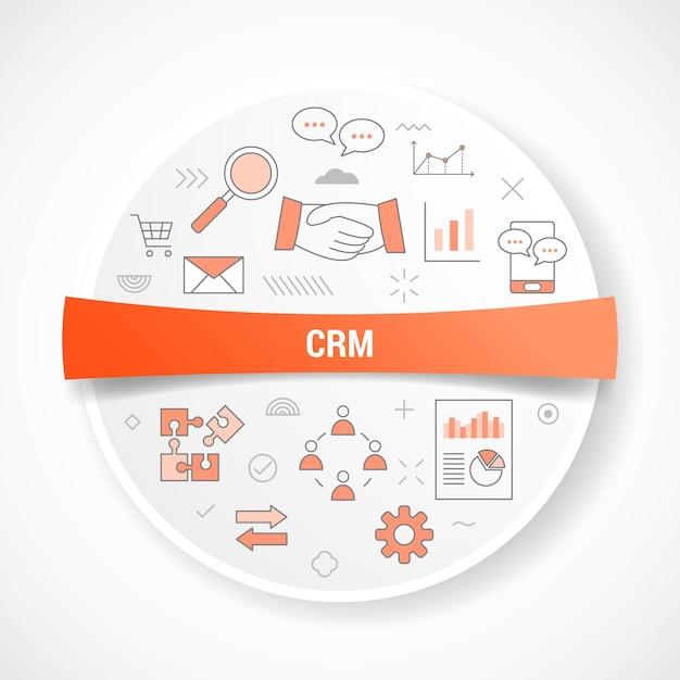 円形または円形のイラストとアイコンの概念を持つcrm顧客関係管理 Premiumベクター