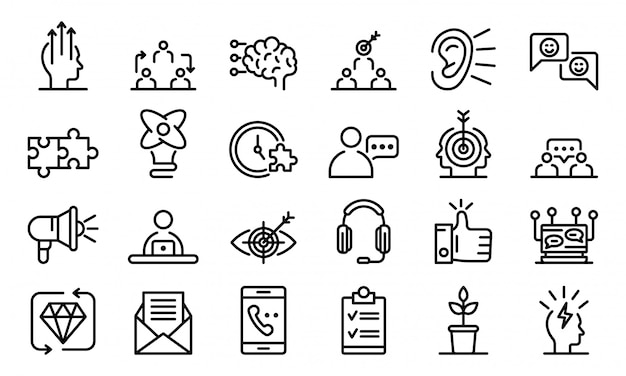 Crm icons set, outline style Premium Vector