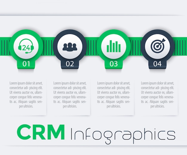 Crm infographic elements, 1, 2, 3, 4 steps, timeline, report, in green and blue Premium Vector