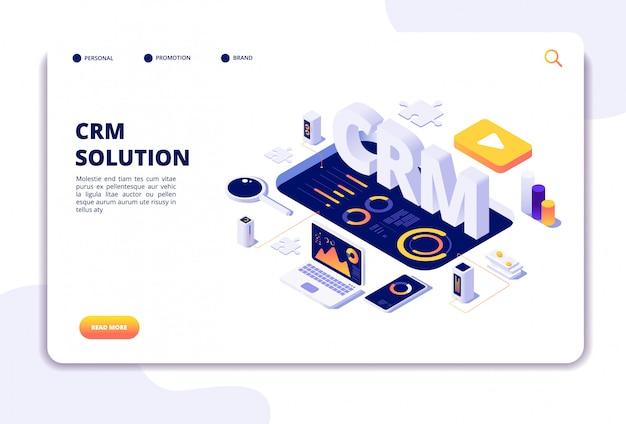 Crm solution landing page Premium Vector