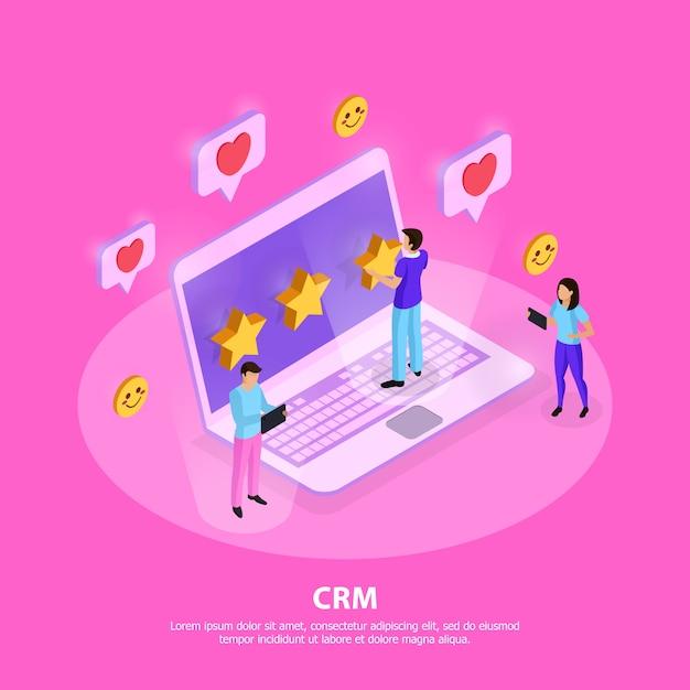 顧客のラップトップの忠誠心とピンクの等尺性の評価要素とcrmシステム構成 無料ベクター