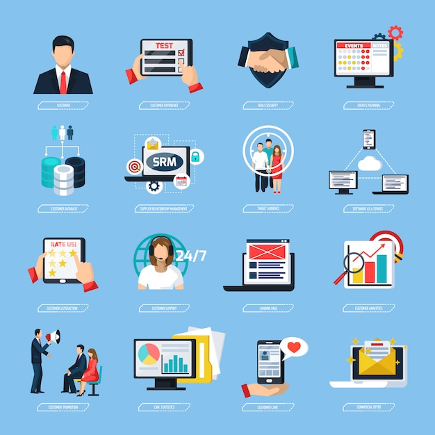 Crm system flat icons set Free Vector