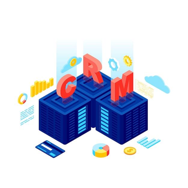 Crmシステム等尺性ベクトル図 Premiumベクター