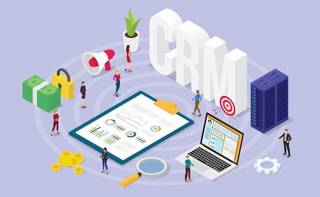 チームの人々と財務管理データとcrm顧客関係マネージャーの概念 Premiumベクター