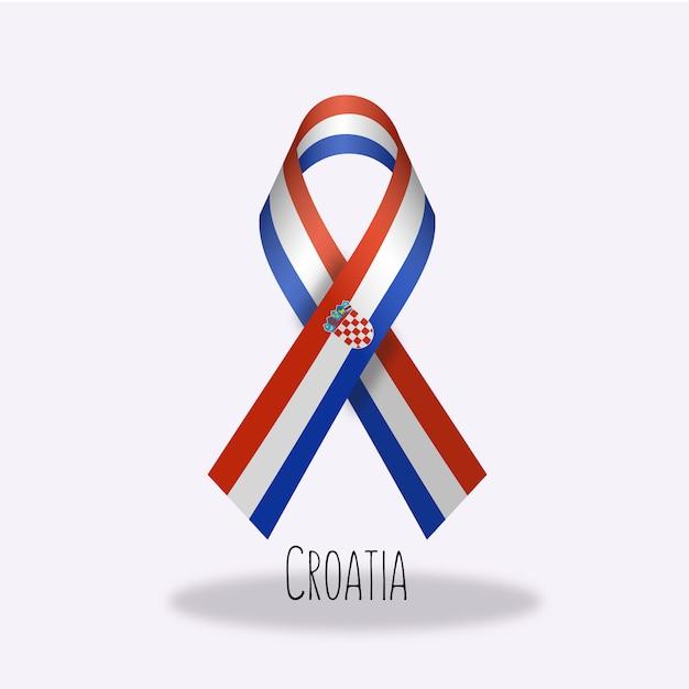 Croatia flag ribbon design Free Vector