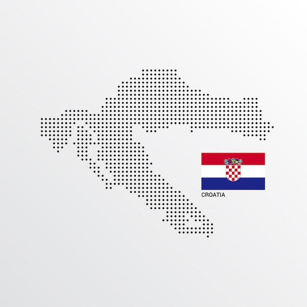 Croatia map design with flag and light background vector Vector ...