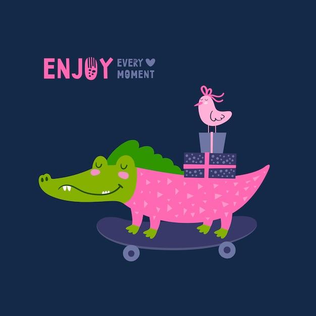 Crocodile card Premium Vector