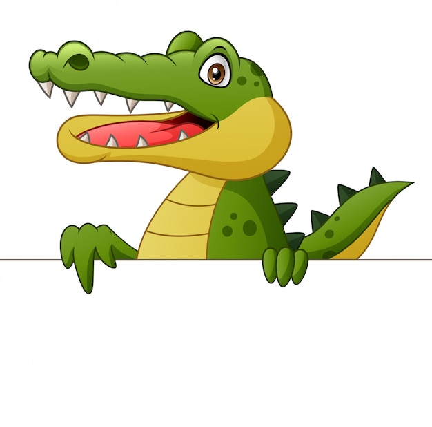 Crocodile cartoon with signboard. illustration Premium Vector