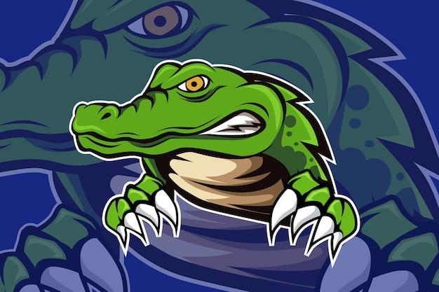 Крокодил талисман для спорта и логотипа киберспорта, изолированные на темном фоне Premium векторы
