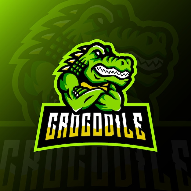 Crocodile mascot logo esport gaming illustration Premium Vector