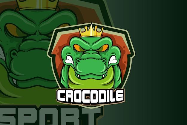 Крокодил талисман логотип Premium векторы