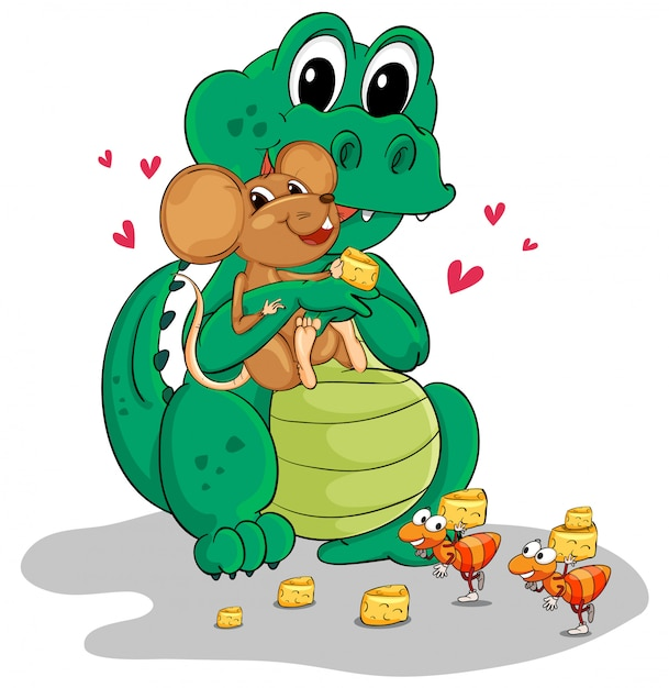 Crocodile and mouse eating cheese Free Vector