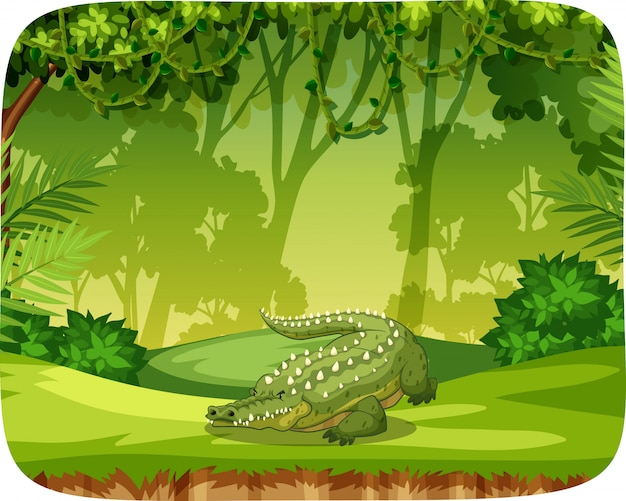 Crocodile on note template Free Vector