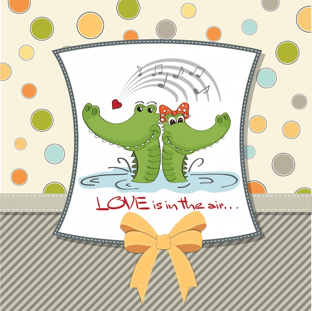 愛のワニです。バレンタインデーカード Premiumベクター