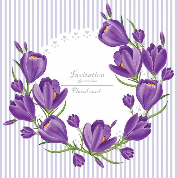 Crocus ultra violet flowers invitation wreath