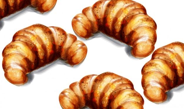 Croissant watercolor breakfast Premium Vector