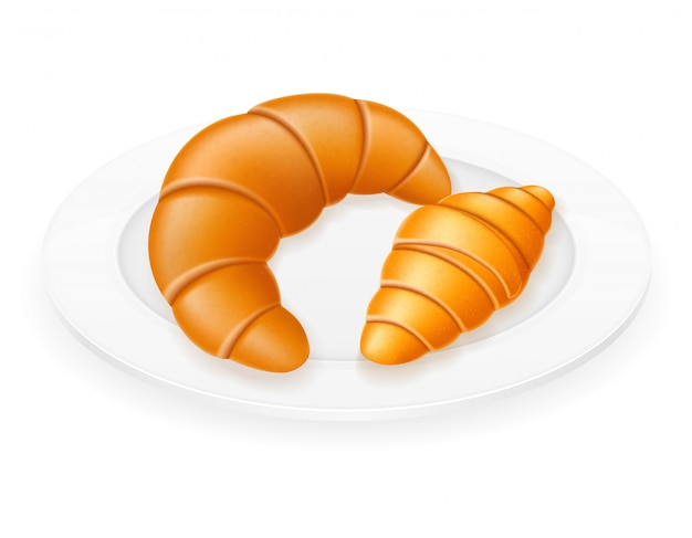 Croissants lying on a plate vector illustration Premium Vector