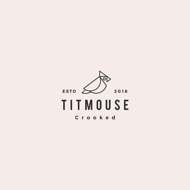 Crooked titmouse bird logo hipster Premium Vector