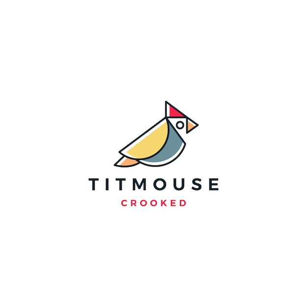 Crooked titmouse bird logo vector icon illustration Premium Vector