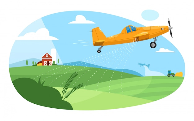Crop duster. flying aircraft plane spraying farm field with pesticide chemicals. green rural farmland landscape with barn and crop duster. agricultural industry aviation farming Premium Vector