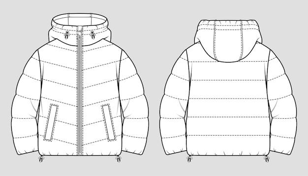 クロップドフグウィンターダウンコート。女性の特大キルティングジャケット。テクニカルスケッチ。 Premiumベクター