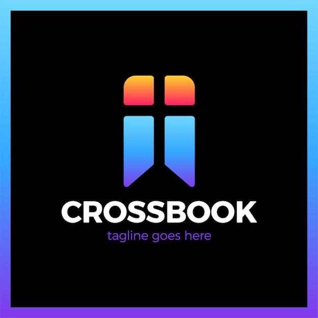 Cross bookmark church logotype Premium Vector