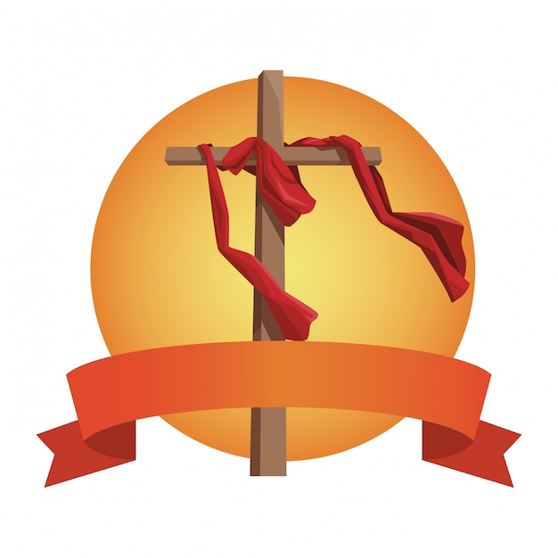 Cross catholic symbol Premium Vector