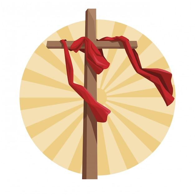 Cross catholic symbol Premium Vector