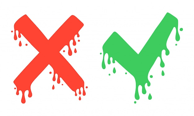 Cross and check marks, x and v icons. no and yes symbols, vote and decision. vector image. cartoon style, liquid dripping. Premium Vector
