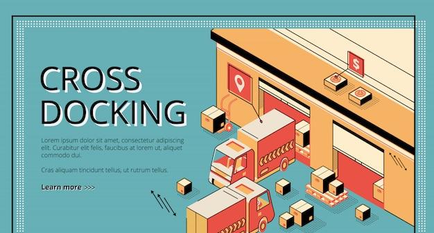 Cross docking logistics. trucks receiving and shipping goods, warehousing process, cargo transportation. Free Vector