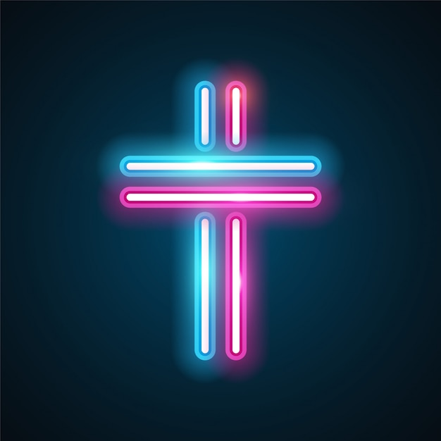 Cross neon design Premium Vector